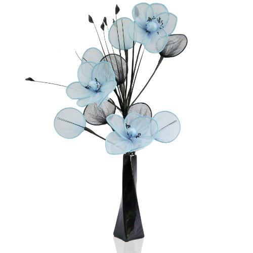 aqua-poppy-net-mesh-artificial-flower-arrangement-in-vase-with-grass