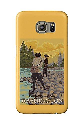 Mt Rainier, Washington - Women Fly Fishing (Galaxy S6 Cell Phone Case, Slim Barely There)
