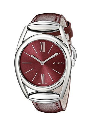 Gucci  YA139402 - Reloj de cuarzo para mujer, con correa de cuero, color rojo