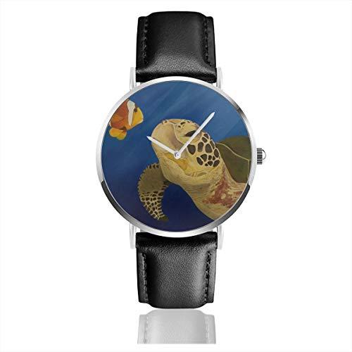 Armbanduhr Quarzuhr Schildkröte Ölgemälde Meeresschildkröte Clownfisch Casual Uhren für Herren Damen mit schwarzem Leder -