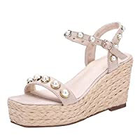 LILICAT Womens Fashion Open Toe Wedges Thick Bottom String Bead Beach Shoes Roman Sandal Quick Dry Barefoot Water Shoes Slip On Beach