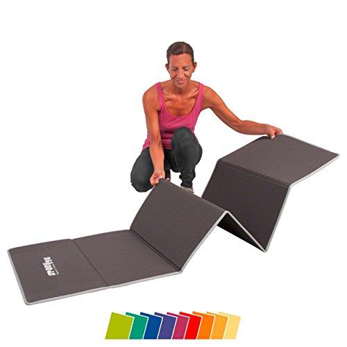 faltbare gymnastikmatte Gymnastikmatte faltbar, LxBxH 180x60x0,7 cm, grau <br />