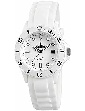 Sportline Damen Herren Unisex Armbanduhr Silikon Datum Weiß Wasserdicht