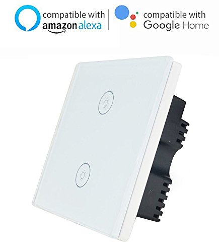 Interruptor inteligente de pantalla táctil de cristal para adultescentes, con wifi, compatible con Amazon Alexa, Google Home, iOS Android App, blanco