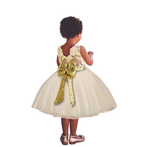 Solike Mädchen Bowknot Spitze Prinzessin Rock Sommer Sequins Kleider für Baby Kleinkinder Kinder (80/0-1year, Gelb)