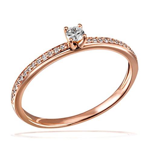 Goldmaid Damen-Ring Verlobung 585 Rotgold Diamant (0.18 ct) weiß Brillantschliff Gr. 58 (18.5)-Pa R7437RG58 Verlobungsring Diamantring