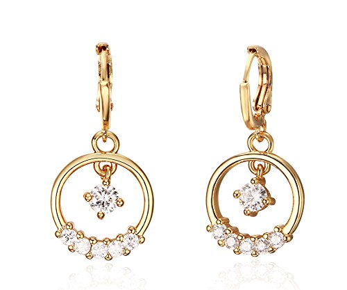 Vnox Placcato oro delle ragazze delle donne della CZ Rrystal rotondo lucido del cerchio ciondola gli orecchini di goccia