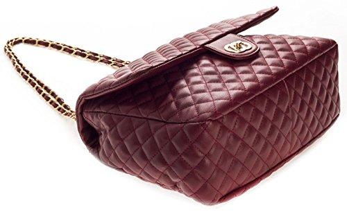 Big Handbag Shop, Damen Schultertasche gesteppt mit Drehschloss Tan - Round Clasp