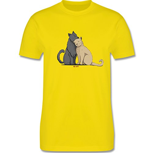 Shirtracer Katzen - Kuschelnde Katzen - Herren T-Shirt Rundhals Lemon Gelb