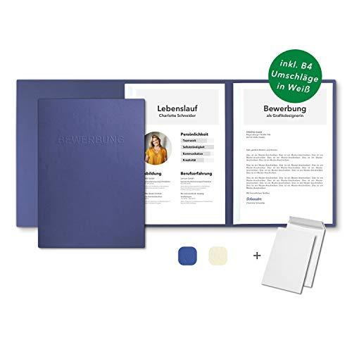 10 Stück 3-teilige Bewerbungsmappen Blau in feinster Lederstruktur - inkl. 10 Versandumschläge in Weiß - mit 2 Klemmschienen und hochwertiger Prägung ''BEWERBUNG'' - direkt vom Hersteller STRATAG
