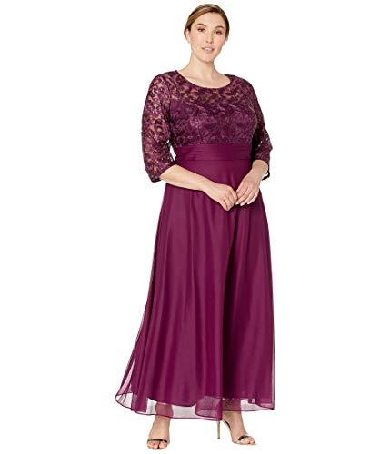 Plus Size Shorts (Alex Evenings Damen Plus Size Short V Neck Crepe Sheath Cocktail Dress Kleid für die Brautmutter, Helles Pflaumenblau, 18W)
