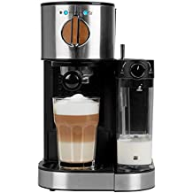 MEDION MD 17116 Espressomaschine mit 1300 Watt, 15 bar, 1200 ml abnehmbarer Wassertank, 700 ml Milchtank mit Aufschaumdüse, Aluminium Siebträger,Schwarz / Edelstahl
