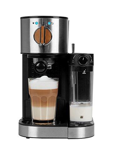 MEDION MD 17116 Espressomaschine mit 1300 Watt, 15 bar, 1200 ml abnehmbarer Wassertank, 700 ml Milchtank mit Aufschaumdüse, Aluminium Siebträger, silber / schwarz