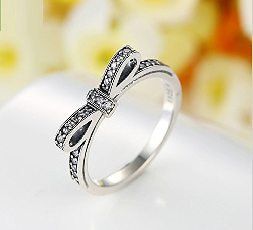 925 Sterling Silver Delicate Bow Ring f2ceM