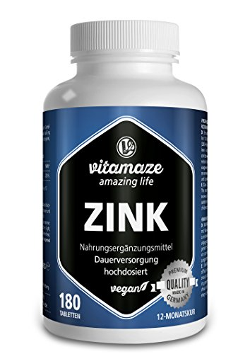 Zink Tabletten hochdosiert 25 mg je Tagesdosis | 50 mg pro Tablette vegan für 12 Monate | ohne Magnesiumstearat | Qualitätsprodukt-Made-in-Germany