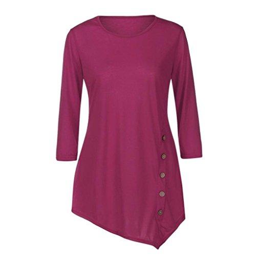 Le donne manica lunga sciolto bottone trim camicetta colore solido girocollo tunica t-shirt,yanhoo® top felpa donna corta elegante pullover inverno girocollo (xxxl, rosa caldo)