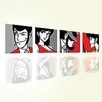 Lupin 3 - Set di 4 Quadri 20x20 - Stampa su Tela Canvas