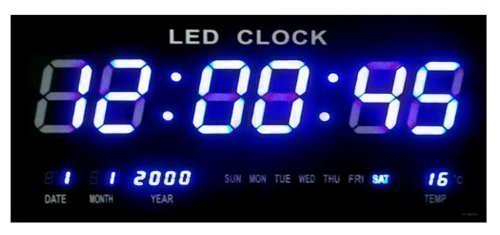 Wanduhr Digitaluhr LED Digital Quarzuhr Datum Temperatur Bar Cafe Kiosk XXL Blau -