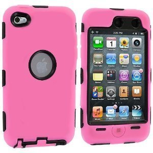Unbekannt Hybrid Fall Kompatibel mit Apple iPod Touch 4. Generation, Light Pink/Black Ipod Touch 4 Hybrid