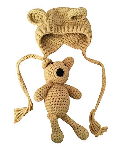 Bär Mädchen Kostüm - Neugeborenen Fotoshooting Kostüm Junge Mädchen Bär Mützen Fotographie Prop Crochet Geschenk Baby Kleidung Neuborn Kaki