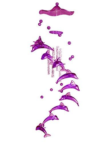 HAAC Windspiel Klangspiel Mobile mit Motiv Delphine Länge 55 cm Farbe lila