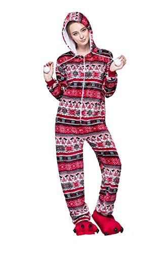 Jahre 80er Kostüm Weibliche - Honeystore Erwachsene Unisex Kostüm Pyjama Tieroutfit Tierkostüme Rot Vogel Tier Onesize Sleepsuit mit Kapuze S