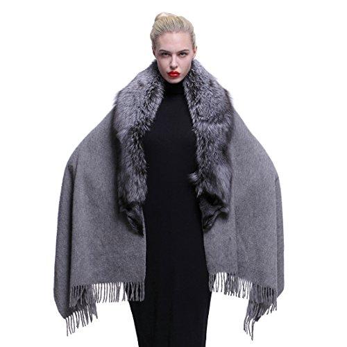 URSFUR Schicke Frauen Kaschmir Cape mit Silberfuchs Pelzkragen Fellschal Umschlagtuch Umhang Stola -grau