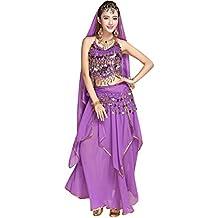 51a633f31e TianBin Mujer Danza del Vientre Trajes Indian Dance Conjunto  Tops Pantalones Monedas Cinturón