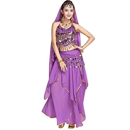 TianBin Mujer Danza del Vientre Trajes Indian Dance Conjunto Tops/Pantalones/Monedas Cinturón (Morado#2, Talla única)