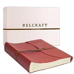 Idea Regalo - Capri Album Fotografico in Pelle, Realizzato a mano da Artigiani Toscani, A4 (23x30 cm) Corallo