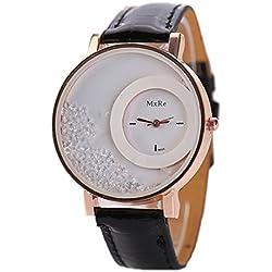 Tonsee Leger bunten Sand Damen Frauen Armbanduhren PU Leder Armband Studentinnen Uhren,schwarz