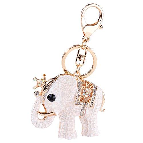 Gosear Glänzend Strass Elefanten-Form Hängende Anhänger Schlüsselanhänger Kette für Tasche Geldbörse Handy Zubehör Dekoration (Strass-schnalle Handtasche)
