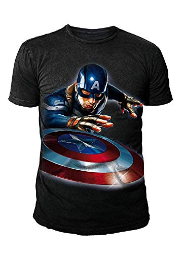 Marvel Comics - Captain America Herren T-Shirt - Launched (Schwarz) (S-XL) (XL) (Black Panther Comic Kostüm)
