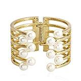 AZUO Vergoldung Perle Öffnung Armband Gute Qualität Geometrischer Typ Weiß Frisches Wasser Perle Armband,Passend für Weiblich Benutzen