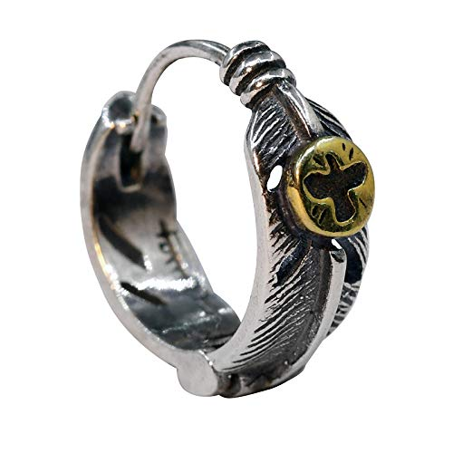 Yyamomo cuffie da uomo argento singolo caccia affascinante piuma di strada moda semplice alla moda fantastico punk gioielli per feste, gioielli per incontri, regalo di compleanno