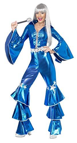 Smiffys 41159L 1970er Jahre Tanzendes Traumkostüm, Damen, Blau, L - Größe 42-46 (1970's Disco Kostüm)