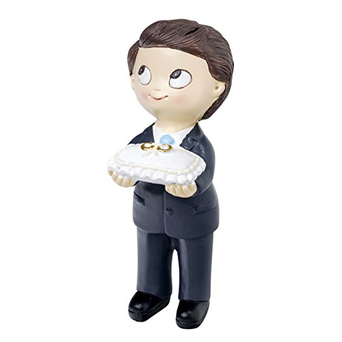 Mopec Figure Cake of Boyfriends Son with Tie and Cushion Rings, Polyresin, Navy Blue, 5x6x11 cm