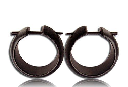CHICNET Holz Pin Creolen handgeschnitzt abgerundet dunkelbraun Horn-Pin Ohrringe 20 mm | coole organic unisex Holzohrringe Männer Frauen | Tribal Ohrschmuck natürlich Herren