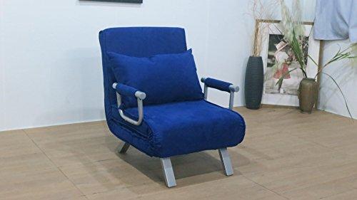 Italfrom 4034 Divano Letto Divanoletto, Poliuretano, Blu, Singolo, 186 x 62 x 25 cm