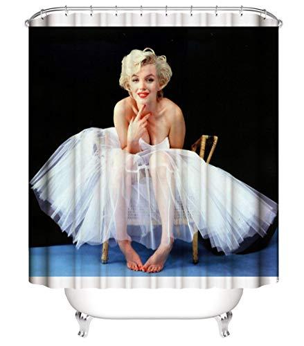 XIAOXINYUAN 3D HD Impresión Digital Engrosamiento Poliéster Ballet Girl Cortina De Ducha con Gancho Ecológico Impermeable Baño Baño Decoración del Hogar 120×180Cm