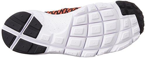 Nike Air Footscape Magista Flyknit, Chaussures de Foot Homme, Gris Noir / Orange / Rouge / Gris (Blk / Brght Crmsn-Gym Rd-Cl Gry)