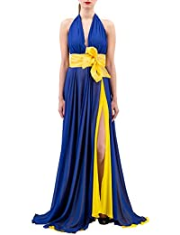 46c4fc0f6a HANITA Abito Lungo Couture con Maxi Fiocco in Contrasto Bluette