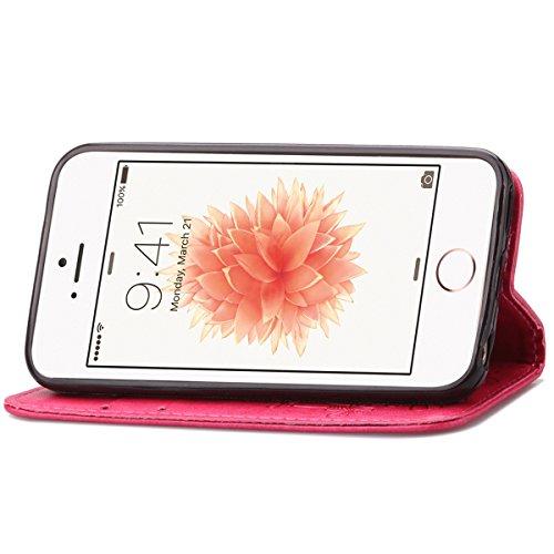 iPhone 5S Coque, iPhone SE Coque, Lifeturt [ Violet ] Leather Case Wallet Flip Protective Cover Protector, Etui de Protection PU Cuir Portefeuille Coque Housse Case Cover Coquille Couverture avec Fonc E02-Se leva