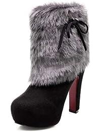 910fec18 Mujeres 12 cm Chunkly Heel ante del dedo del pie de gamuza del vestido de  felpa
