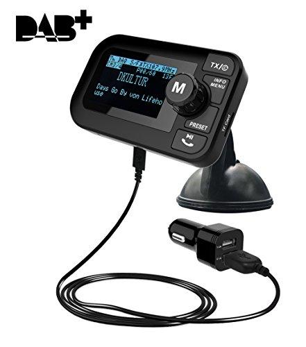 SAVORI 5 in 1 Auto DAB/DAB + Radio digitale con trasmettitore FM Ricevitore Bluetooth Lettore MP3 Adattatore audio radio Caricatore per auto Chiamata vivavoce 2.3'LCD Supporto Rimovibile
