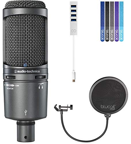 f7c8c68ef1b Audio-Technica AT2020USB Plus Kondensator Mikrofon - Beinhaltet - blucoil  Pop Filter + 5 Stück