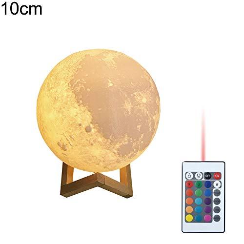 display08 Wiederaufladbare Mondlampe 3D Druck LED Nachtlicht Fernbedienung Home Decor 10cm (Halloween Outdoor-leuchten Decor)