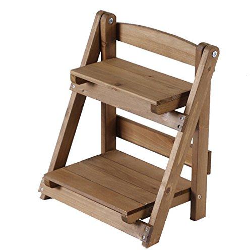 Escalera de madera estante de madera, teckpeak Stands Soporte de escalera escalera de madera pequeña estantería para plantas de interior, madera robusta, 2, 30×17.5×35cm