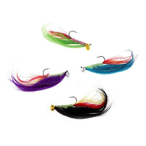 Perfeclan 4 Stü Fliegenfischen Fliegen Streamer Forelle Lockt 4 Muster Sortiment Fliegenhaken -