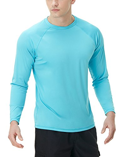 TSLA Herren UPF 50 + schwimm Shirt Loose-Fit schwimm Langarm T-Shirt Rashguard Top, Basic Sun Block(mss03) - Himmelblau, Large - Ein Langarm-shirt
